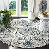 Safavieh Madison Collection MAD600C Cream and Light Grey Bohemian Chic Paisley Round Area Rug (5' in Diameter)