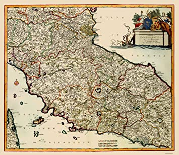 Amazon.com: Old Italy Map - Tuscany Region - De Wit 1688 - 23 x ...