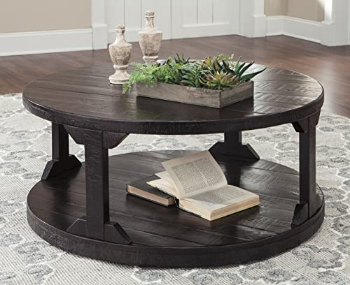 FurnitureMaxx Rogness Rustic Brown Color Round Cocktail Table
