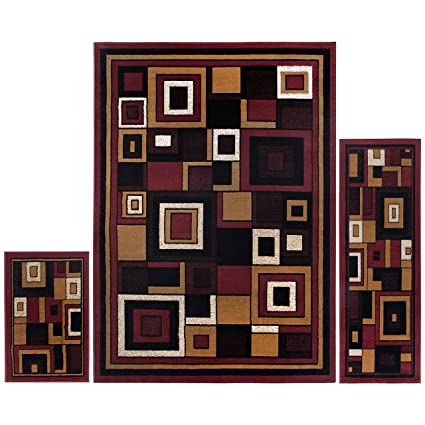 Home Dynamix Ariana Meye 3 Piece Area Rug Set | Warm U0026 Plush Black, Red
