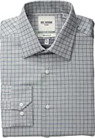 Ben Sherman Men's Slim Fit Twill Check Spread Collar Dress Shirt