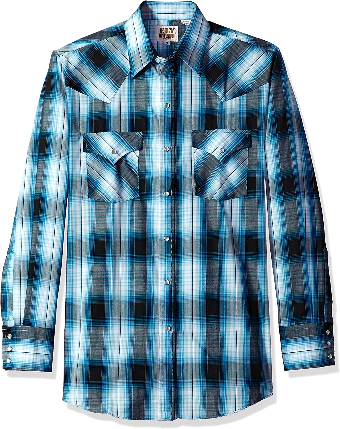 ELY CATTLEMAN Men's Long Sleeve Plaid Western Shirt