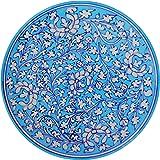 Aditya Blue Art Pottery Ceramic Decorative Wall Hanging Handmade Plate (23 cm x 23 cm x 3 cm, Blue)