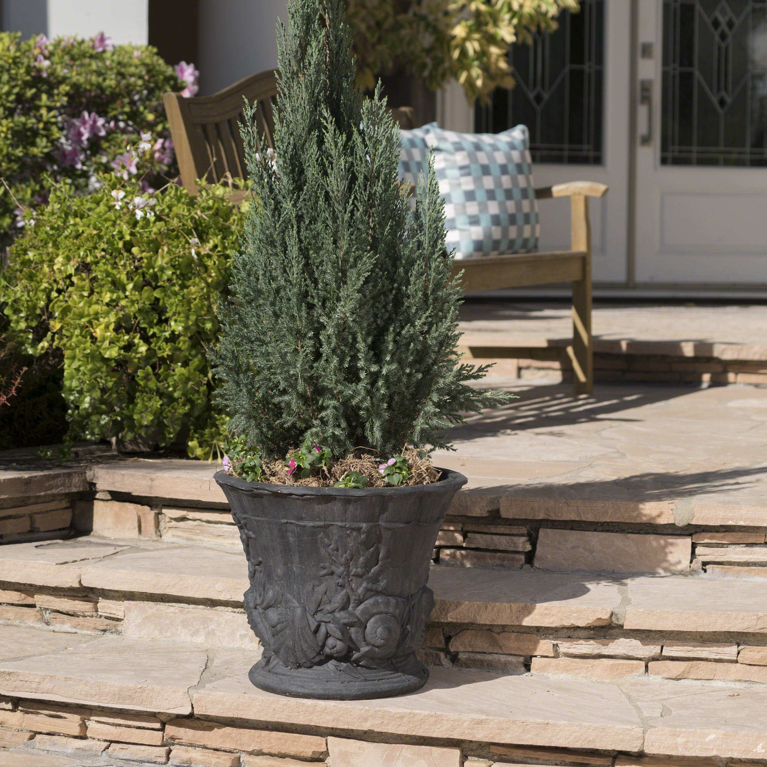Great Deal Furniture Fern Outdoor Antique Black Finish Light Weight Concrete Urn
