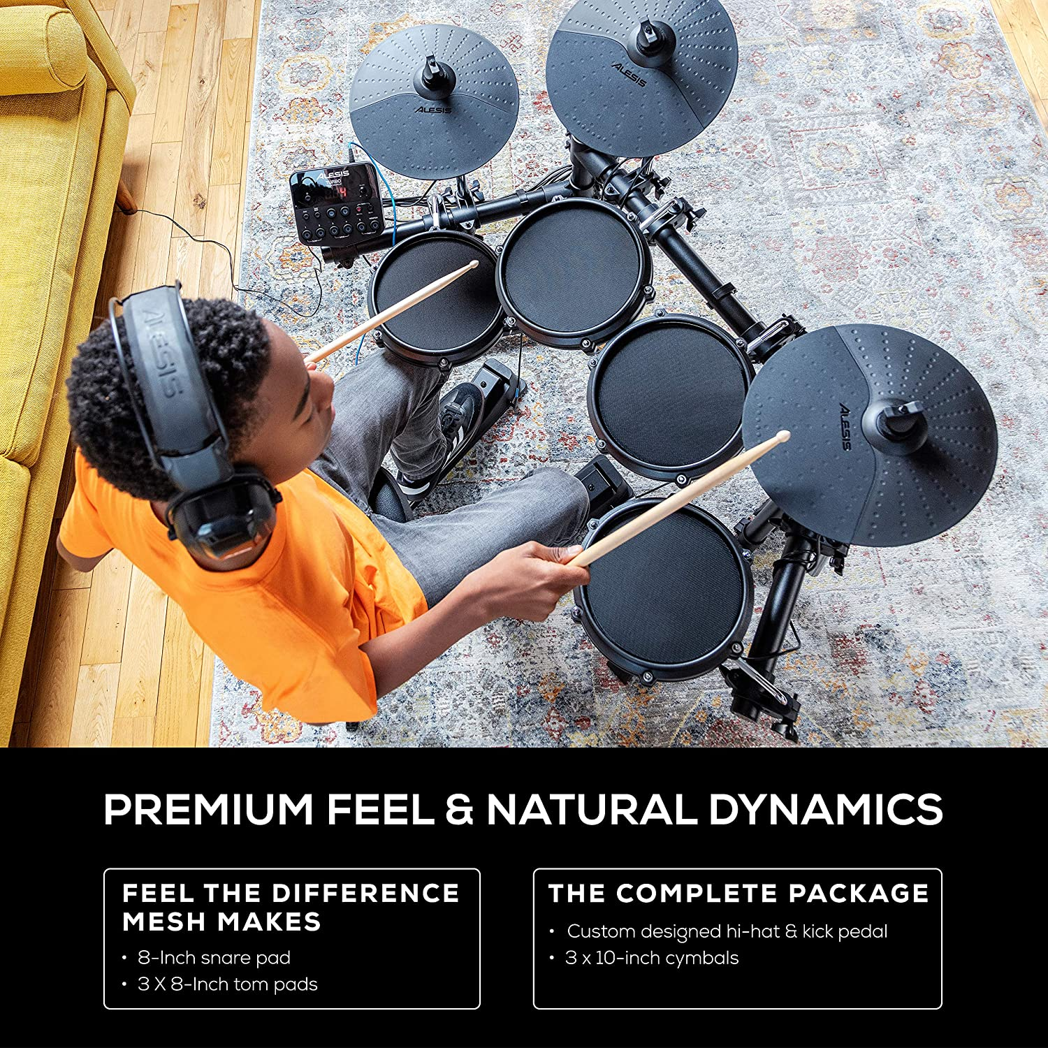 Alesis Nitro Mesh Kit Numark HF125 Eight Piece Mesh Electronic Drum Set With 385 Sounds Portable Headphones With Closed Back Design for Superior Isolation