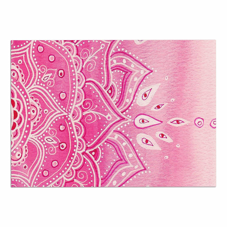 KESS InHouse LZ1070ADM02 Li Zamperini Pink Mandala Pink Ethnic Watercolor Dog Place Mat, 24  x 15