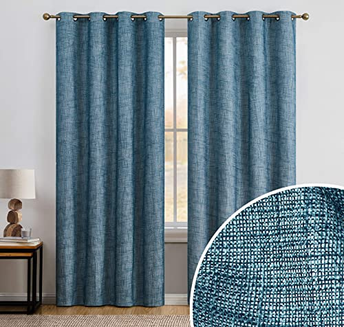 HLC.ME Modena Textured Faux Linen 100 Complete Full Blackout Thermal Insulated Window Curtain Grommet Panels for Bedroom – Energy Savings Soundproof, Set of 2 50 x 96 inch Long, Teal Blue