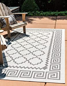 Unique Loom Outdoor Trellis Collection Greek Key Border Geometric Transitional Indoor and Outdoor Flatweave Gray/Black Area Rug (5' 3 x 8' 0)