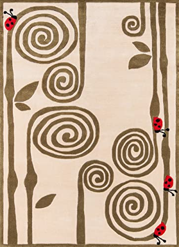 Momeni Rugs Lil Mo Whimsy Collection, Kids Themed Hand Carved Tufted Area Rug, 4 x 6 , Ivory