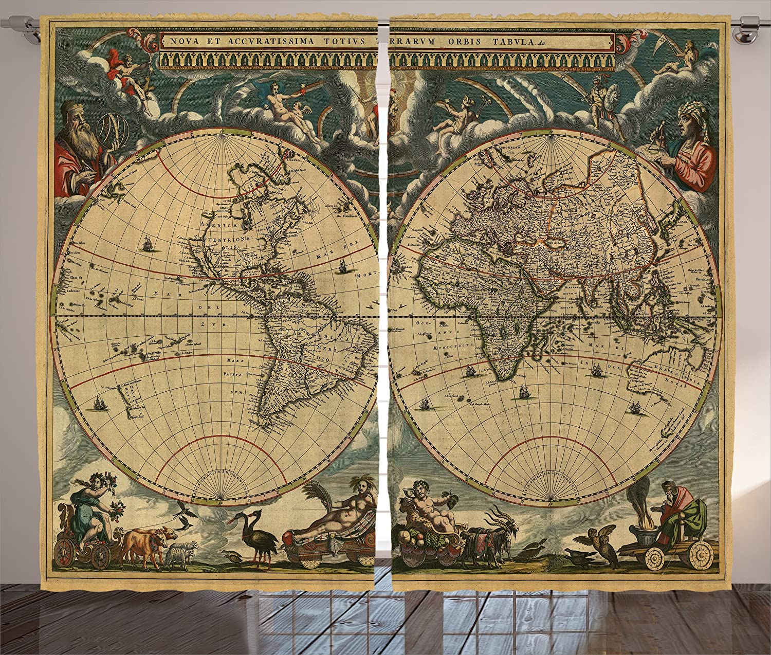 Wanderlust Decor Curtains by Ambesonne, Map of Ancient World Continents Antiquity Stained Vintage Historic Aged Earth Image, 2 Panels Set for Living Room Bedroom, 108 X 84 Inch, Dark Green and Beige