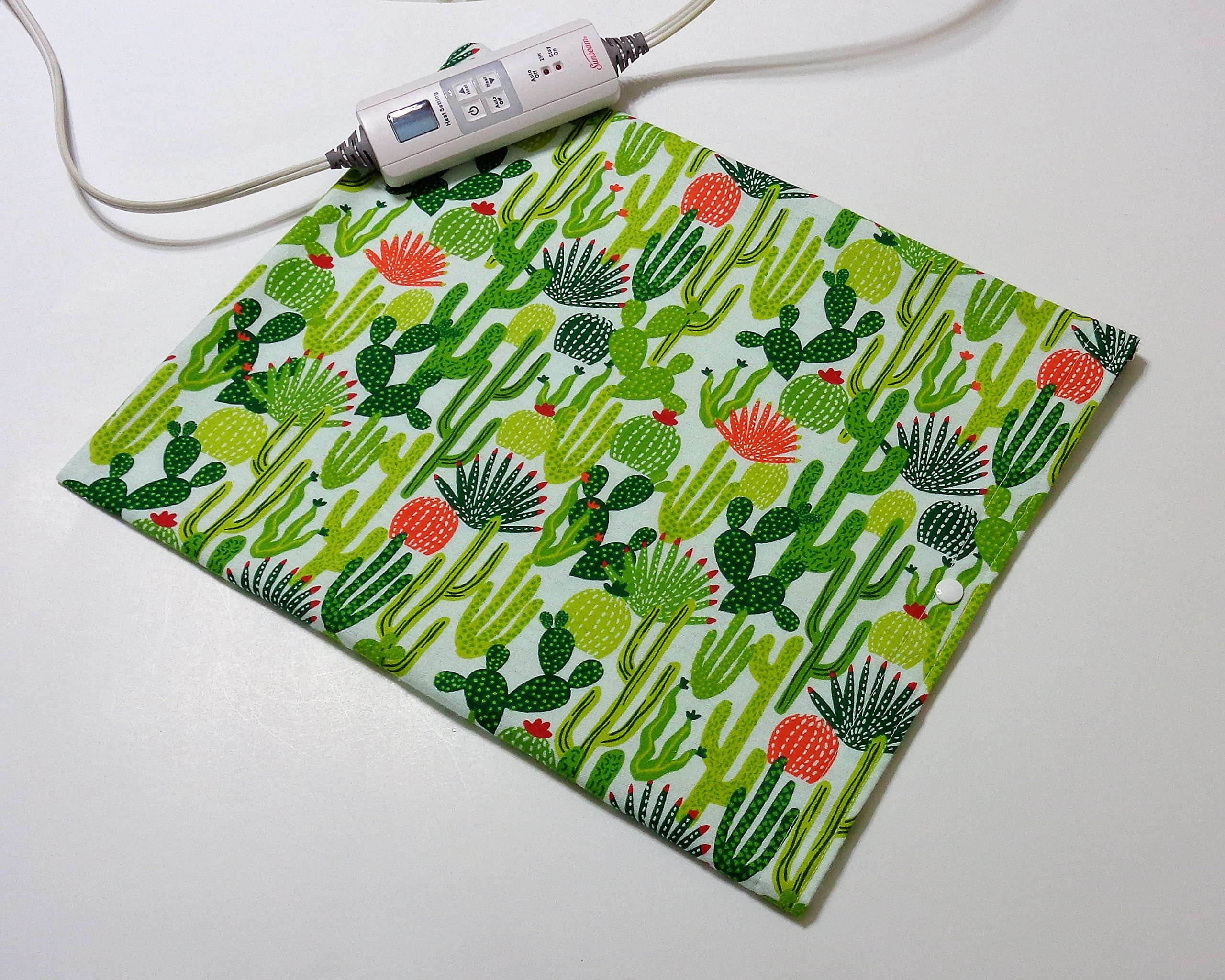 """Replacement Cover for 12"""" x 15"""" Heating Pad ~ Heating Pad Cover ~ Cover Only ~ Cactus Print"""