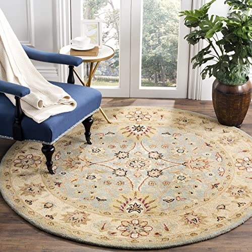 Safavieh Antiquities Collection AT249A Handmade Traditional Oriental Light Blue and Ivory Wool Round Area Rug 3 6 Diameter