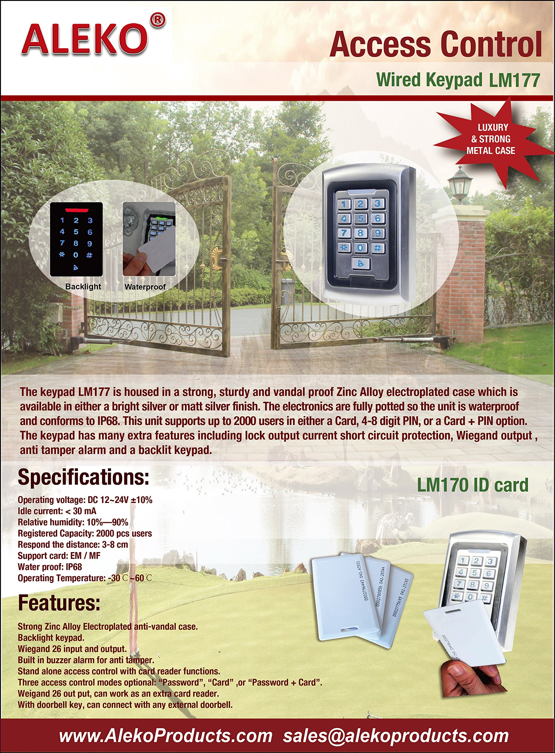 ALEKO LM177 12/24V DC Universal Touch Panel Wired Keypad Code or ID Card Access