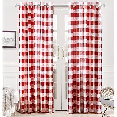 DriftAway Buffalo Checker Pattern Grommet Room Darkening Window Curtains, Printed Plaid, Set of Two Panels, 52 X84  (Red)