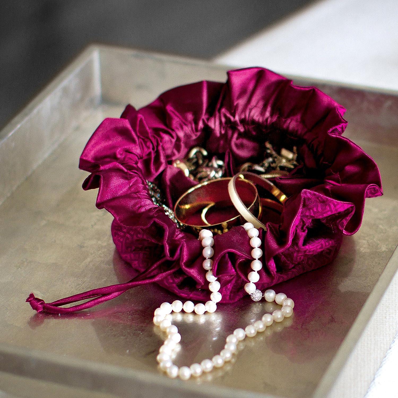 Amazoncom Drawstring Jewelry Pouch Silk Jacquard Black Home