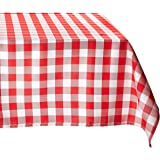 LinenTablecloth 54-Inch Square Polyester Tablecloth Red & White Checker