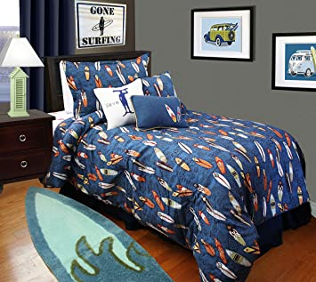 Amazon.com: Surf Bedding for Boys - Twin Duvet Cover with Matching ... : surf quilt cover - Adamdwight.com
