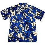 "Camisa Hawaiana Hombre ""Classic Flowers (blue)"", 100% algodón, tamaño M"