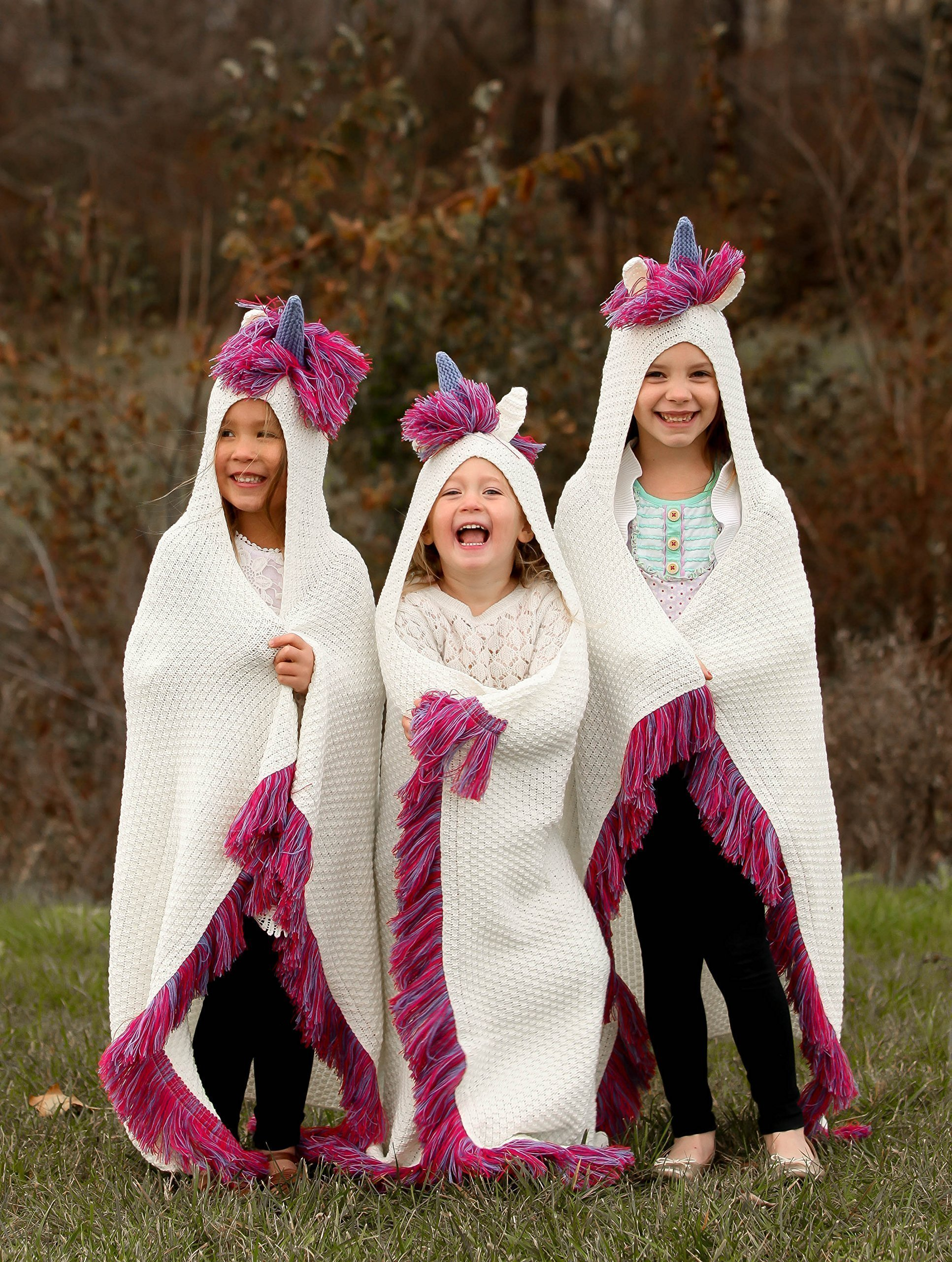 Born To Unicorn Blanket for Girls- Hooded, Kids Pink, Purple Wearable Crochet Knit w/Hood Throw Blankets Wrap, Toddlers Cute Plush Knitted Hoodie, Soft Kids Blanket Gift, Cozy Magic Cloak w/Hood by Born To Unicorn (Image #2)