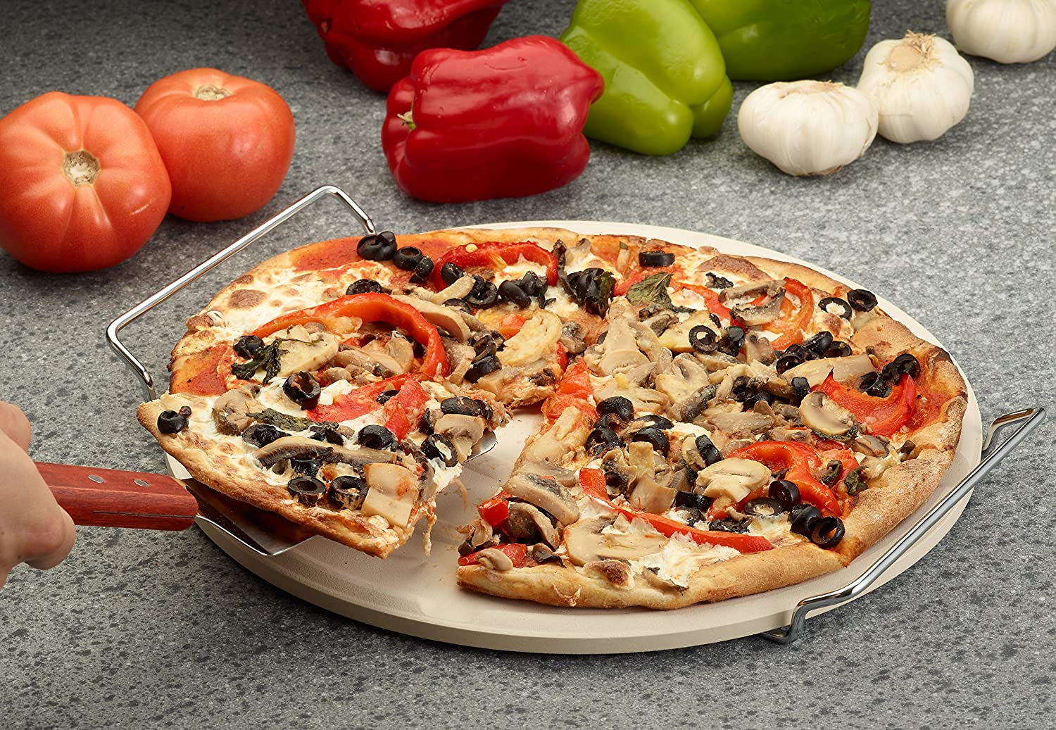 13-Inches Diameter HIC/'s Pizza Baking Stone with Serving Rack Natural Ceramic Stoneware