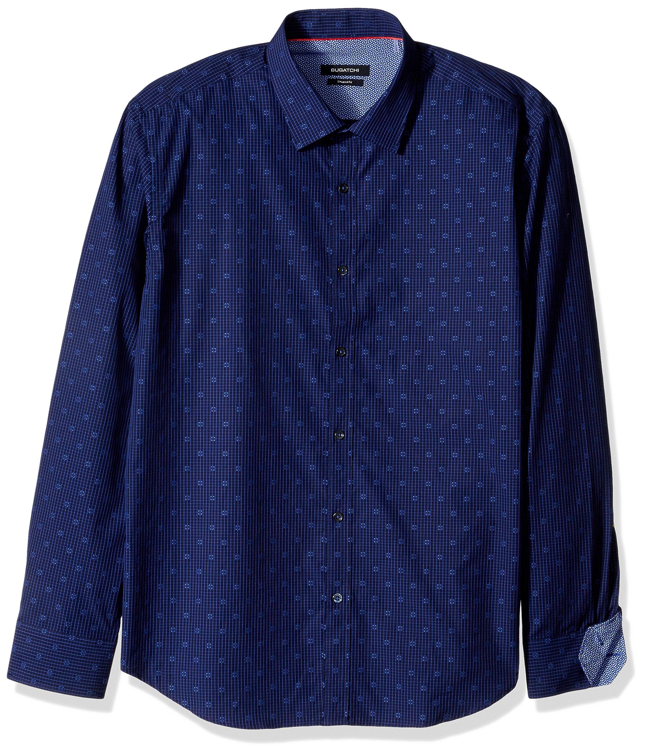 BUGATCHI Men's Long Sleeve Shaped Fit Point Collar Sport Woven Shirt, Midnight, M