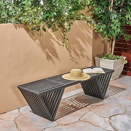 Great Deal Furniture 305723 Esme Outdoor Acacia Wood Bench, Dark Gray Finish