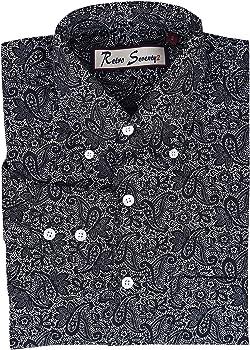 Retro Seventy2 - Camisa de manga larga de algodón para hombre, color negro Negro Negro (XL 107/ 112 cm: Amazon.es: Ropa y accesorios