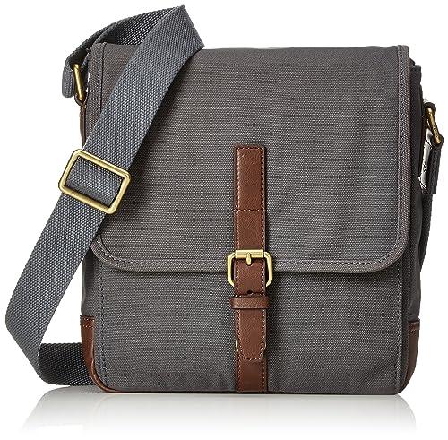 Fossil - Herren Tasche Davis City Bag, Carteras Hombre, Grau (Grey), 7.6x30.1x26.7 cm (B x H T): Amazon.es: Zapatos y complementos