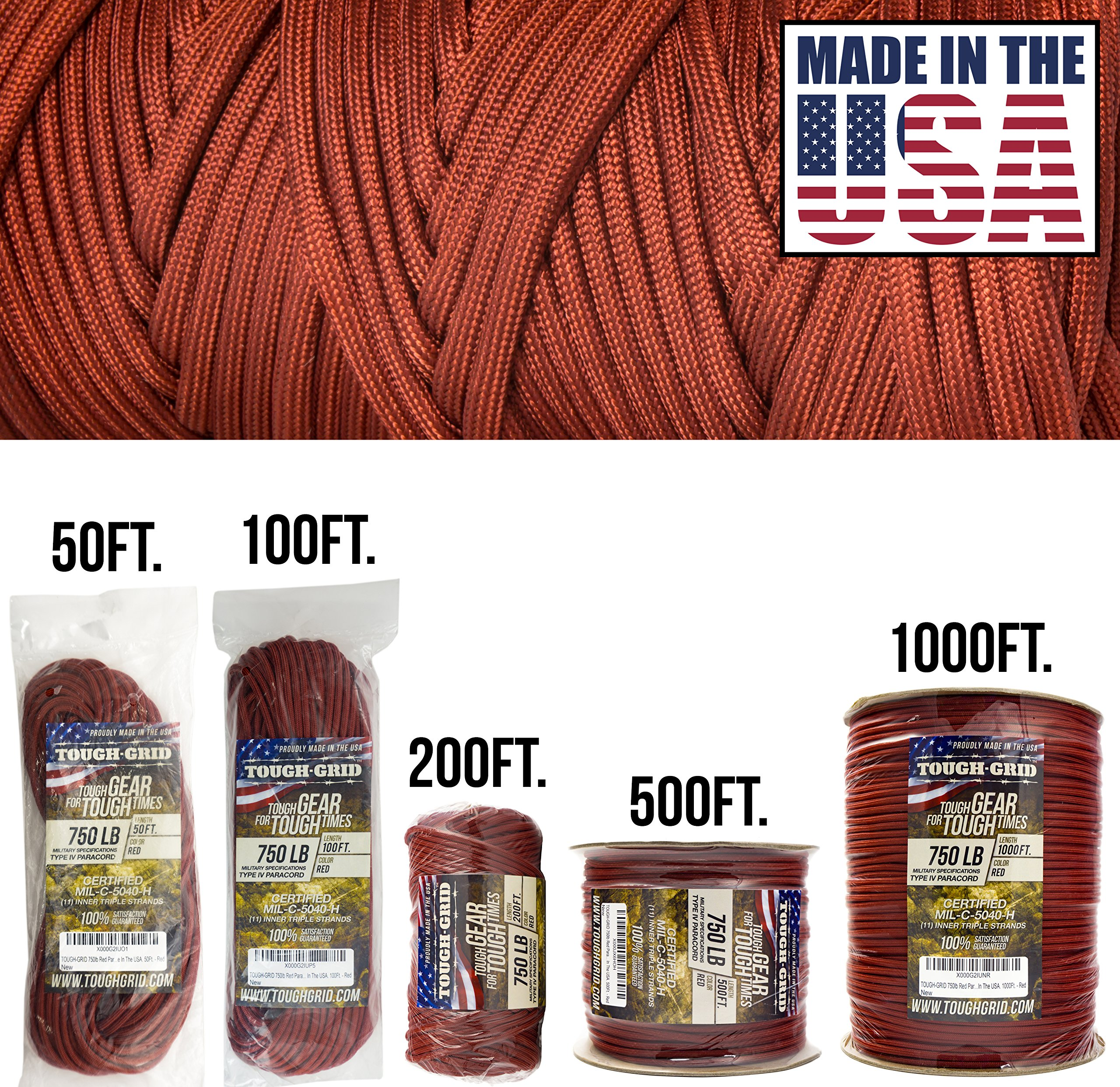 TOUGH-GRID 750lb Red Paracord/Parachute Cord - Genuine Mil Spec Type IV 750lb Paracord Used by The US Military (MIl-C-5040-H) - 100% Nylon - Made in The USA. 50Ft. - Red by TOUGH-GRID