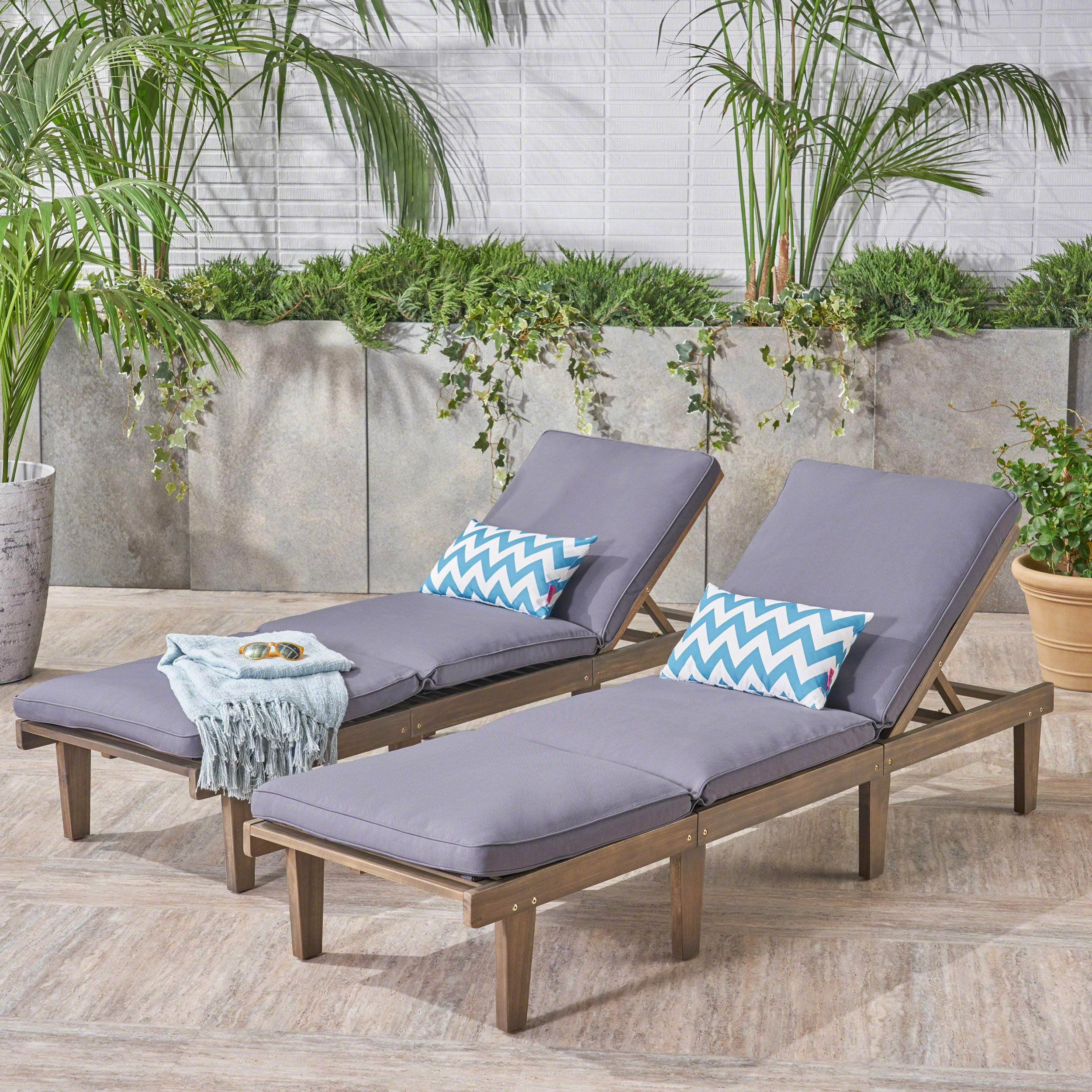 Alisa Outdoor Acacia Wood Chaise Lounge with Cushions (Set of 2), Grey and Dark Grey