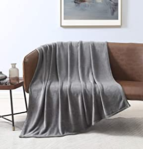 Love's cabin Flannel Fleece Blanket Throw Size Grey Throw Blanket for Couch, Extra Soft Double Side Fuzzy & Plush Fall Blanket, Fluffy Cozy Blanket for Adults Kids or Pet (Lightweight,Non Shedding)