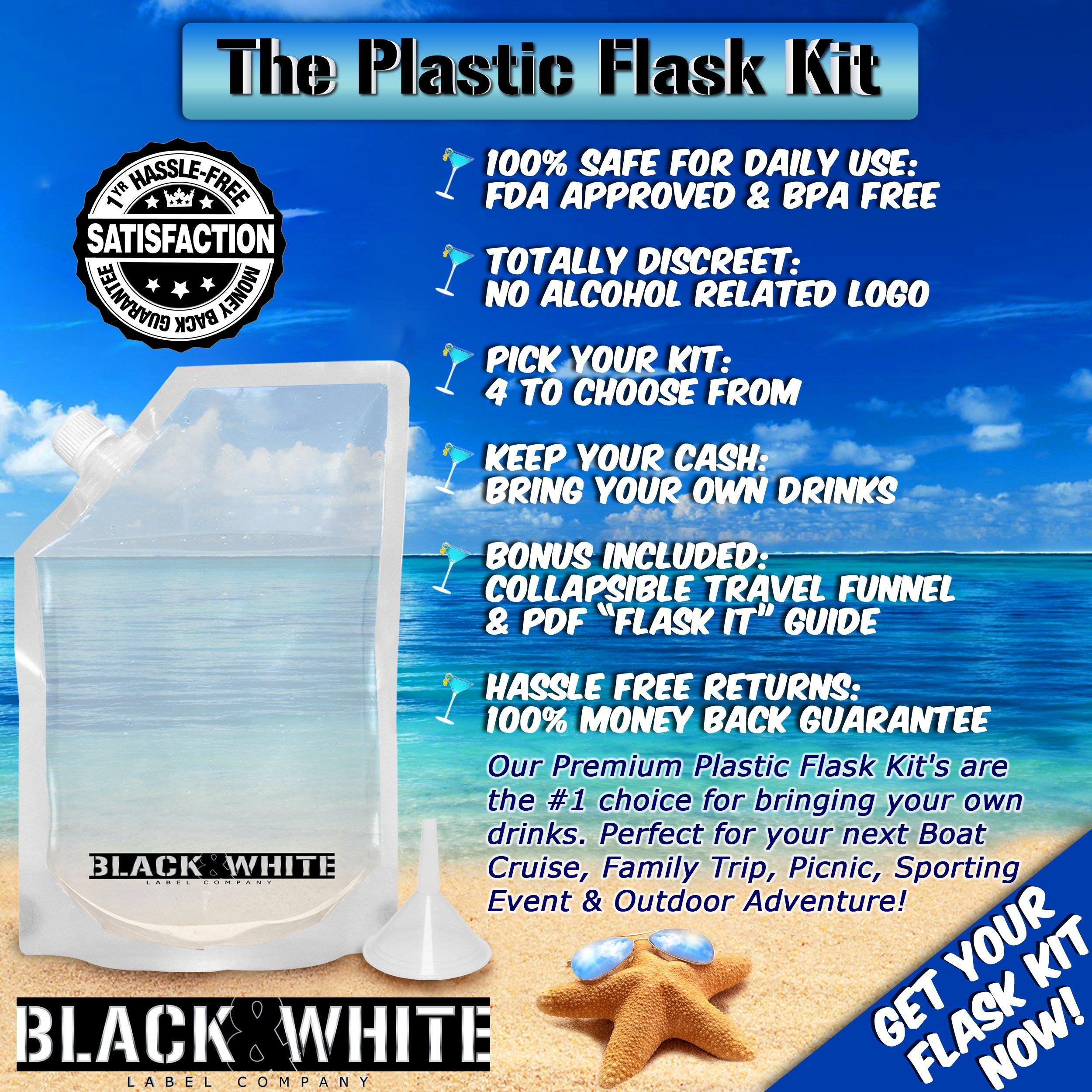 9 Black Amp White Label Premium Plastic Flasks Liquor