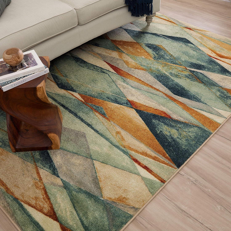 Amazon Com Mohawk Home New Wave Diamond Illusion Abstract Printed Area Rug 5 X 8 Multicolor Furniture Decor