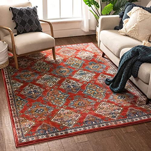 Well Woven Callie Red Traditional Panel Area Rug 4×6 3 11 x 5 3