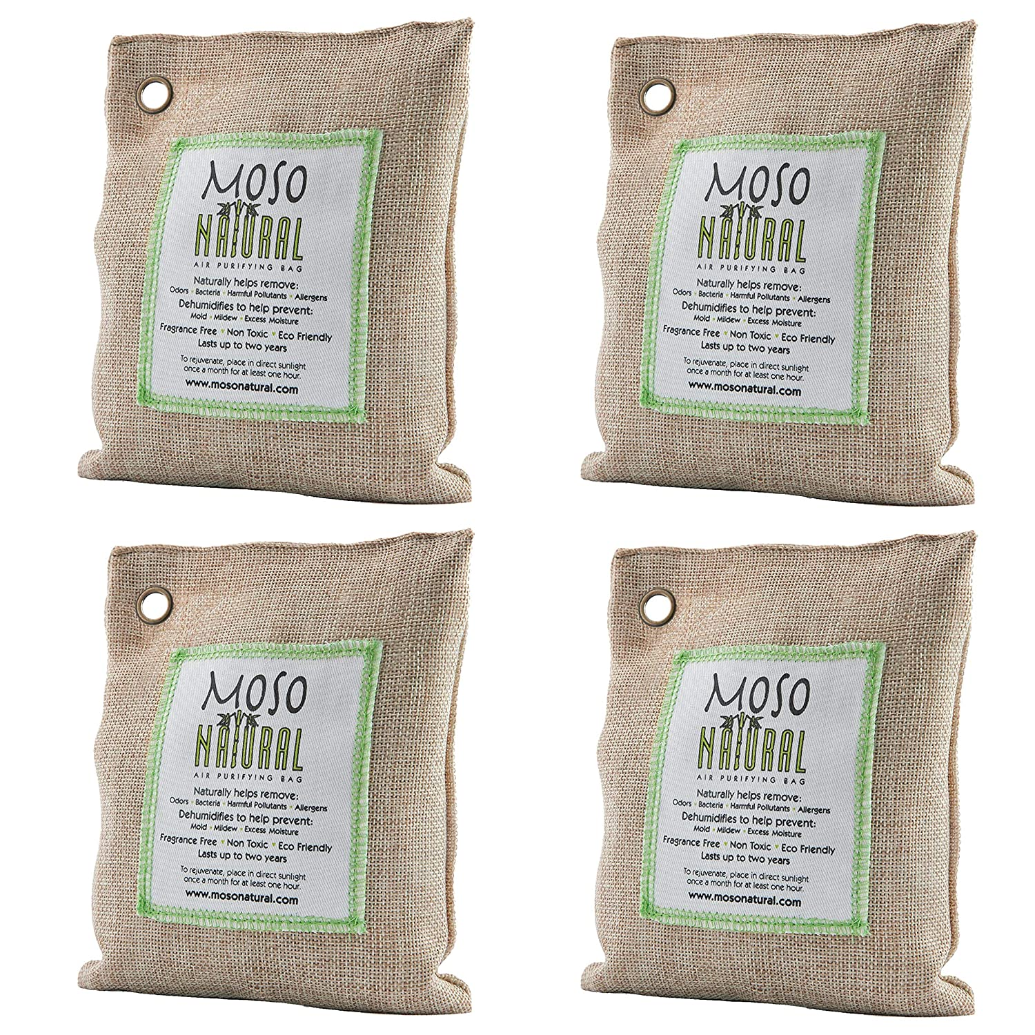 Moso Natural Air Purifying Bag. Odor Eliminator for Cars, Closets, Bathrooms and Pet Areas. Natural Color, 200-G, 4 Pack A.C. Kerman - Pet Products MB2578-4