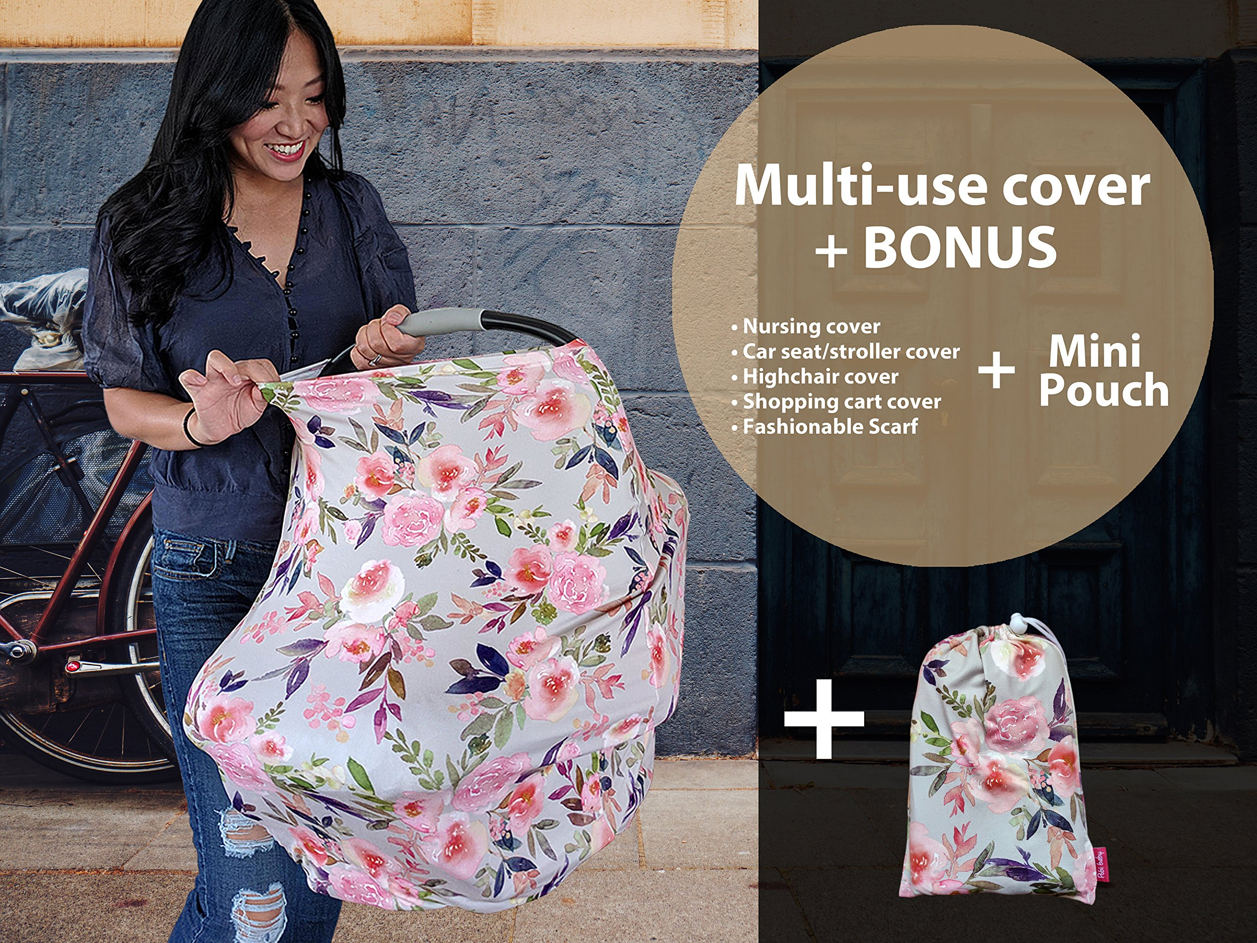 Premium Soft, Stretchy, and Spacious 4 in 1 Multi-Use Cover for Nursing, Baby Car Seat, Stroller, Scarf, and Shopping Cart - Best Gifts by Pobibaby (Grace) by Pobibaby (Image #5)