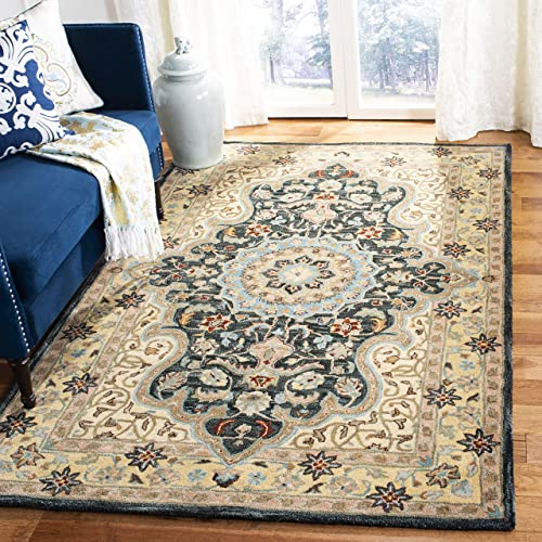 Safavieh Heritage Collection Premium Wool Area Rug, 3 x 5 , Cream Black