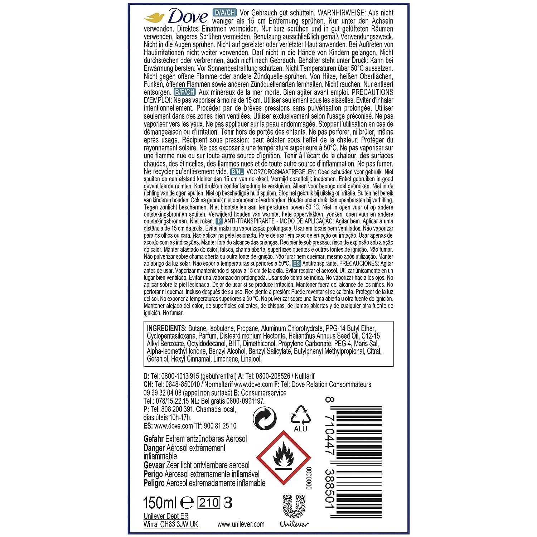 Dove Desodorante Spray Talco con aroma talkum polvo sin aluminio y Alcohol, 3 Pack (3 x 90 g): Amazon.es: Belleza