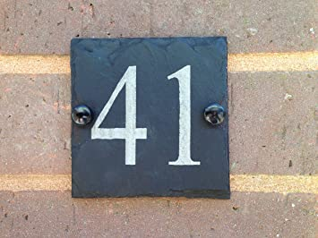 Slate House Sign Door Number House Sign small 10x10cms (Free postage) & Slate House Sign Door Number House Sign small 10x10cms (Free postage ...