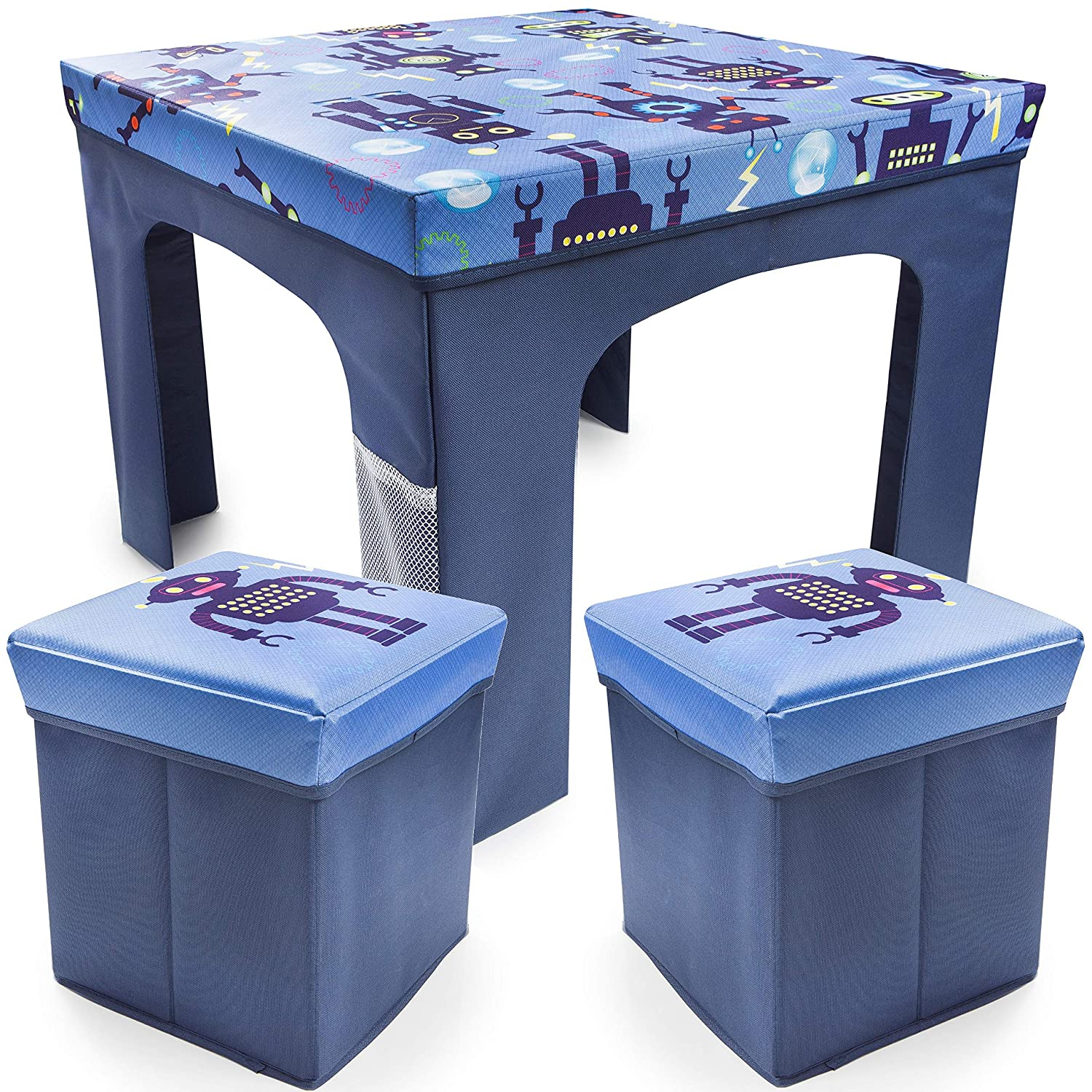 Hamilton Hartley Kids Toddler Square Folding Robot Design Table and Chairs Stool Set Foldable Playroom Bedroom Childs Nursery Furniture