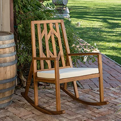Monterey Outdoor Wood Rocking Chair With White Cushion
