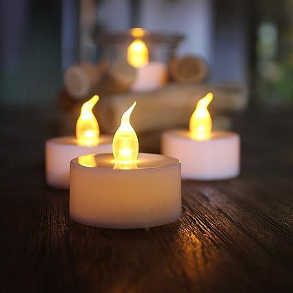 SHYMERY Velas de té LED sin llama, funciona con pilas, velas de té realistas