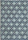 "Momeni Rugs BAJA0BAJ-7BLU1837 Baja Collection, Contemporary Indoor & Outdoor Area Rug, Easy to Clean, UV protected & Fade Resistant, 1'8"" x 3'7"", Blue"