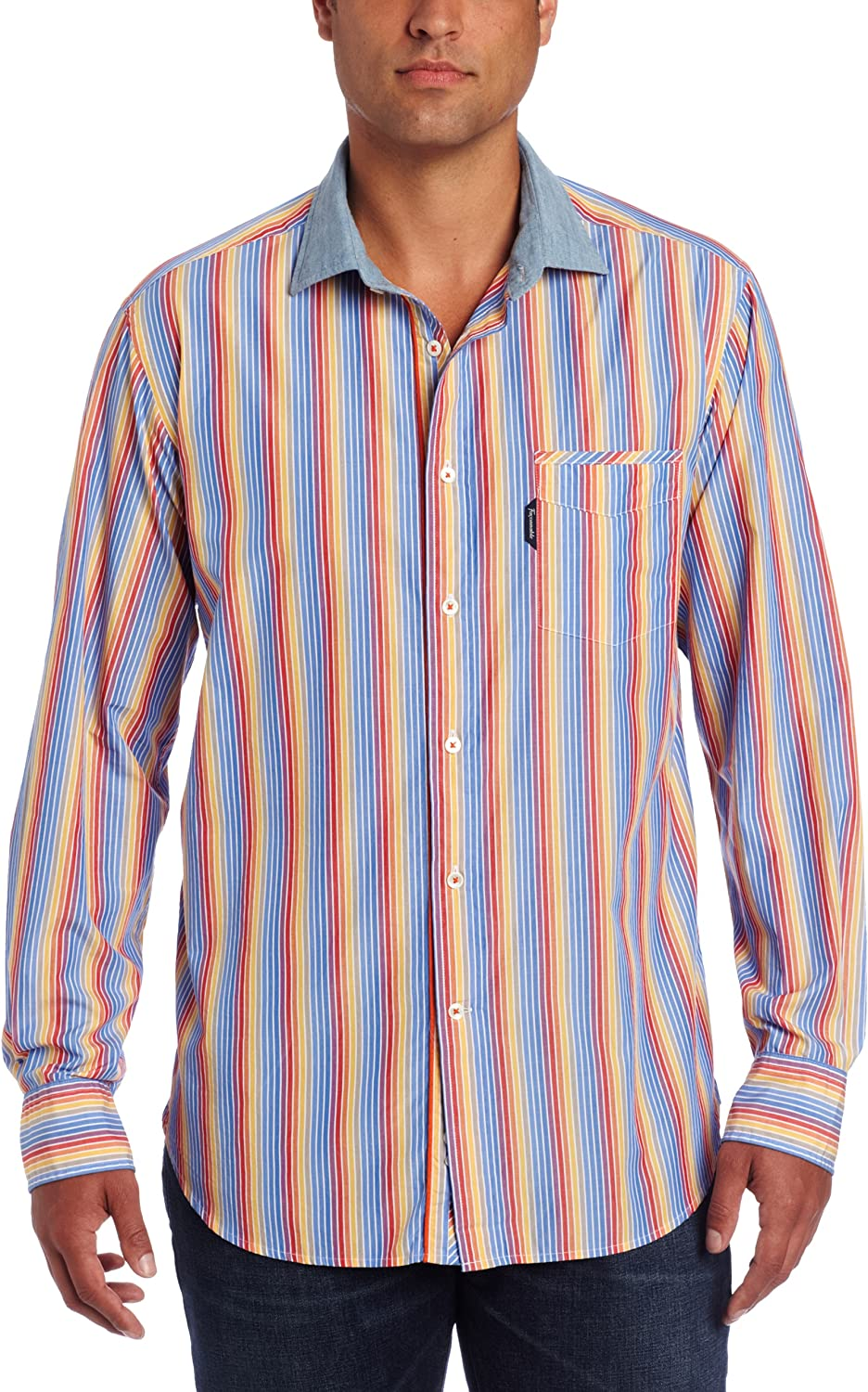 Faconnable Mens Club Fit Bold Stripe Woven Shirt