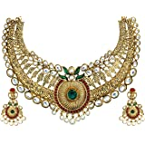 Zaveri Pearls Brown Non-Precious Metal Choker Necklace With Drop Earrring Set For Women