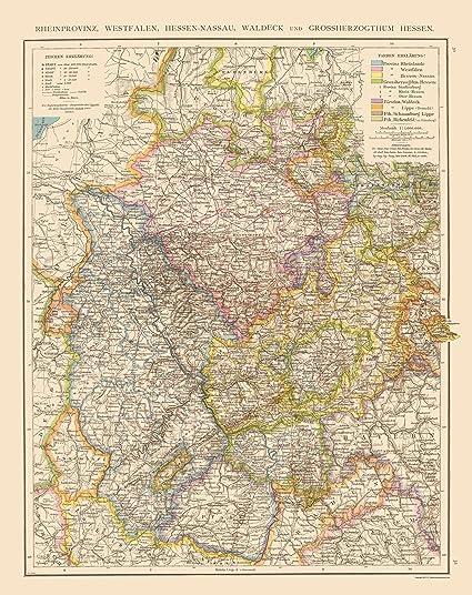 Map Of Old Germany.Amazon Com Old Germany Map Rheinprovinz Westfalen Hessen Nassau