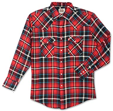 8eadbfdc Amazon.com: ELY CATTLEMAN Tall Mens Western Flannel Plaid Shirt ...