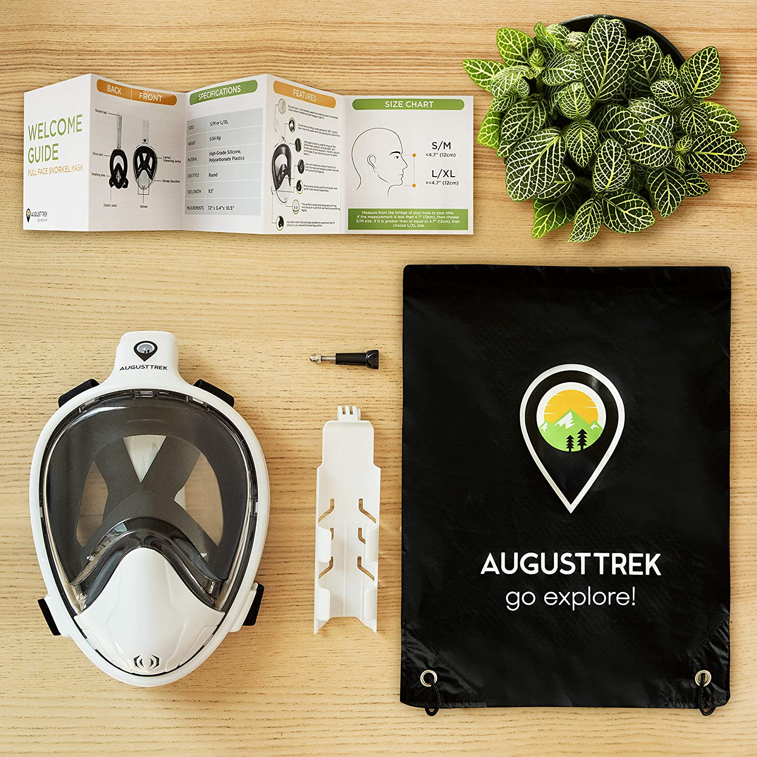 Foldable Tube and Upgraded Wide 180/° Lens Breathe Comfortably with Enhanced Easy Breathing Technology. Full Face Design Largest in Market AugustTrek ONE80 GoPro Compatible Snorkel Mask