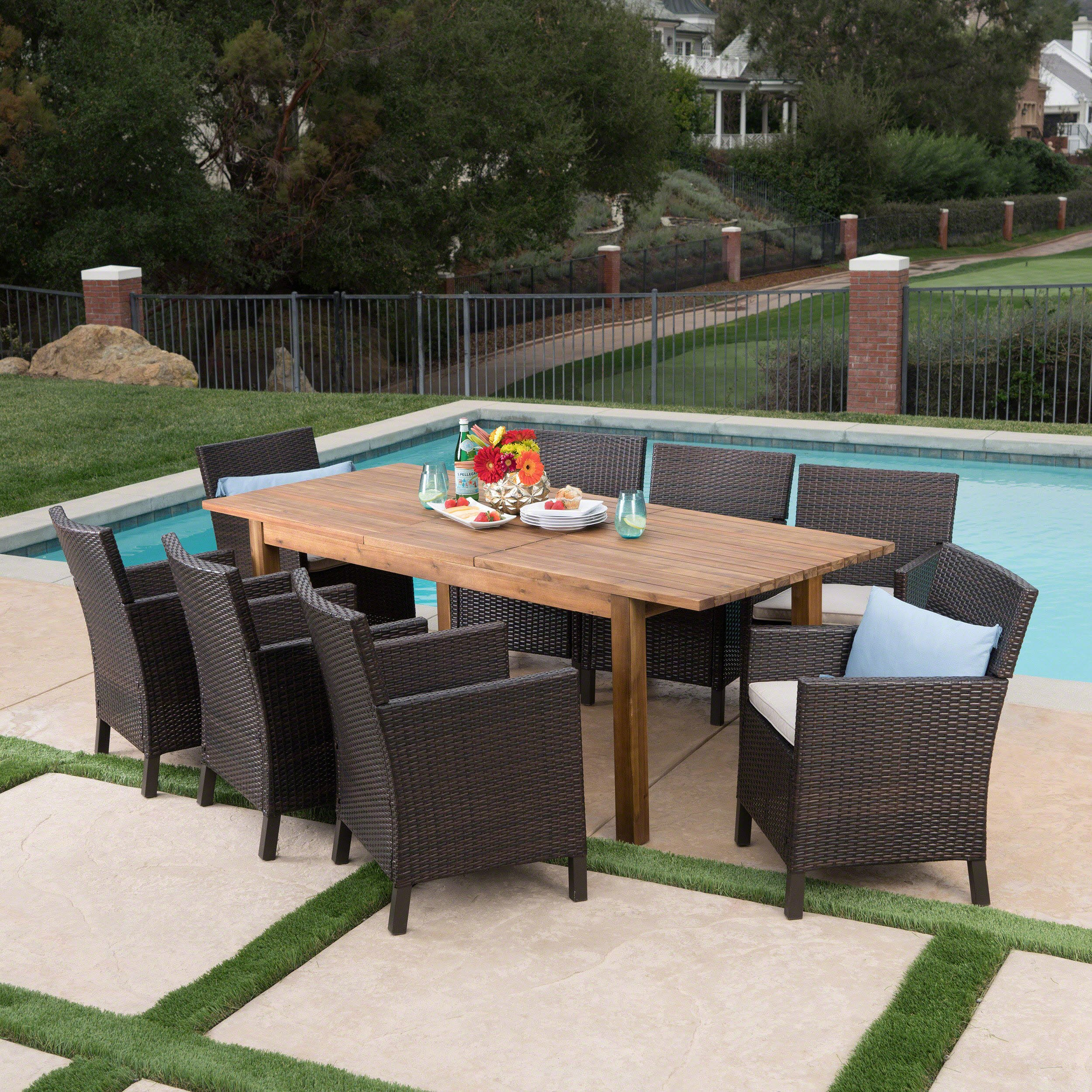 Lilith Outdoor 9 Piece Multibrown Wicker Dining Set with Teak Finished Acacia Wood Expandable Dining Table and Light Brown Water Resistant Cushions by Great Deal Furniture