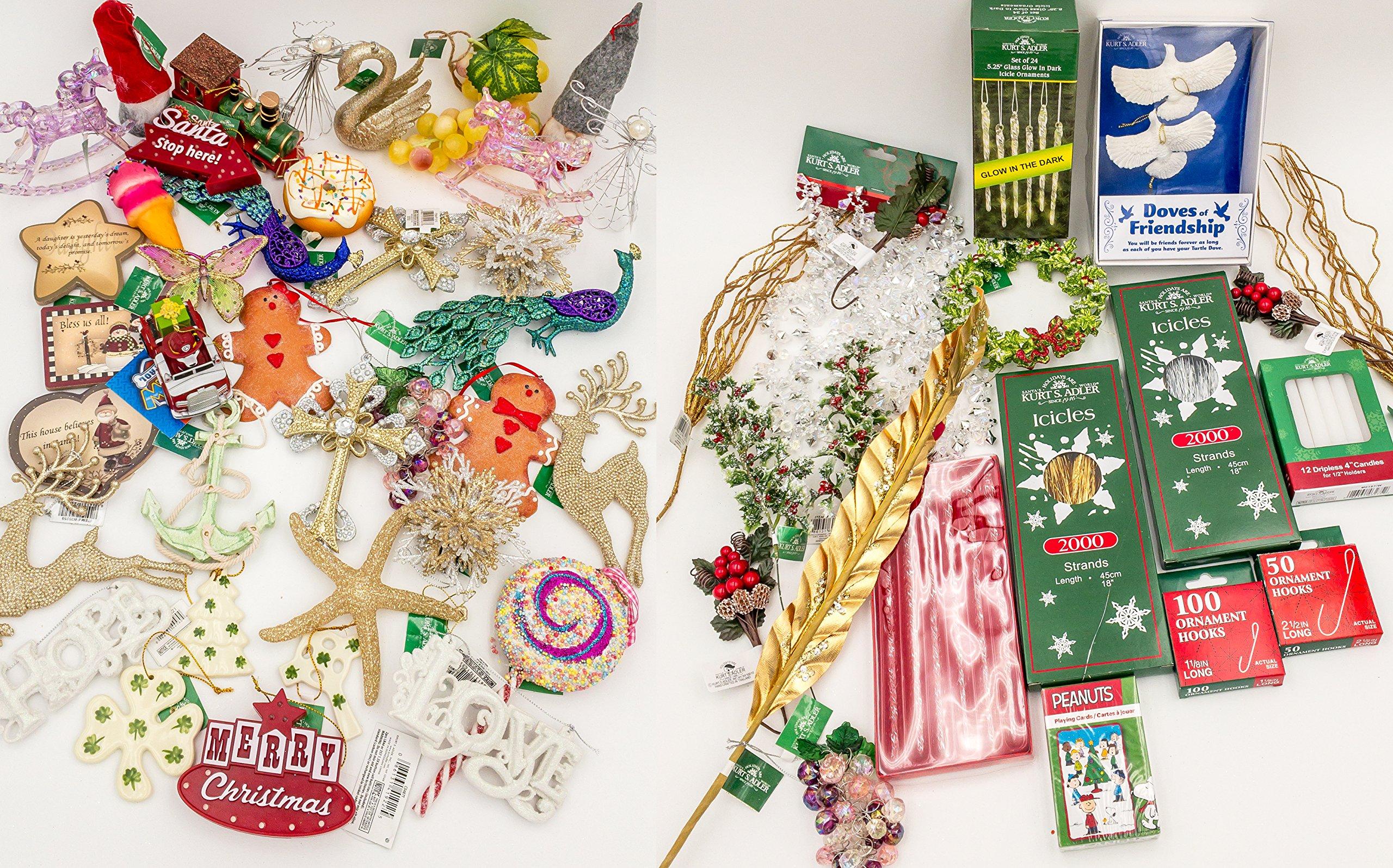 JZ Bundles Large Set - Best of Christmas - Kurt Adler - 57-Piece Bundle - A Bundle of Christmas Ornaments Great Gift